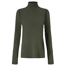 Buy Jigsaw Lambswool & Cashmere Blend Roll Neck Jumper, Khaki Online at johnlewis.com