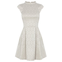 Buy Oasis Amelia Jacquard Skater Dress, Silver Grey Online at johnlewis.com