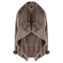 Buy Oasis Faux Shearling Drape Coat, Natural Online at johnlewis.com