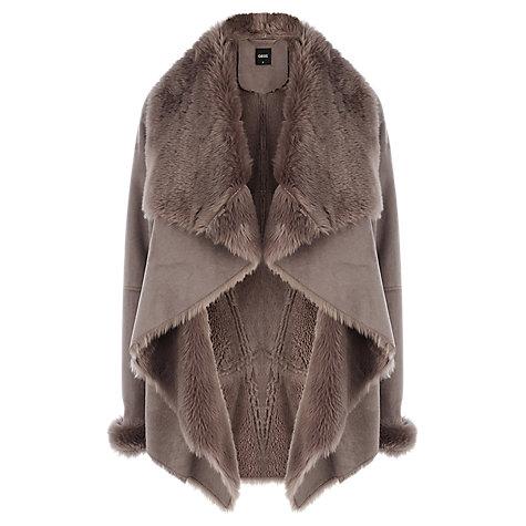 Buy Oasis Faux Shearling Drape Coat, Natural Online at johnlewis.com