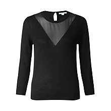 Buy Jigsaw Merino Wool Chiffon Detail Sweater Online at johnlewis.com