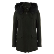 Buy Mint Velvet Hooded Coat, Khaki Online at johnlewis.com