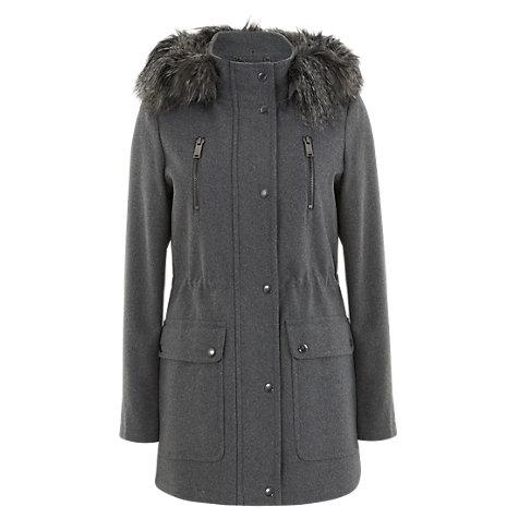 Buy Mint Velvet Faux Fur Hood Parka, Grey Online at johnlewis.com