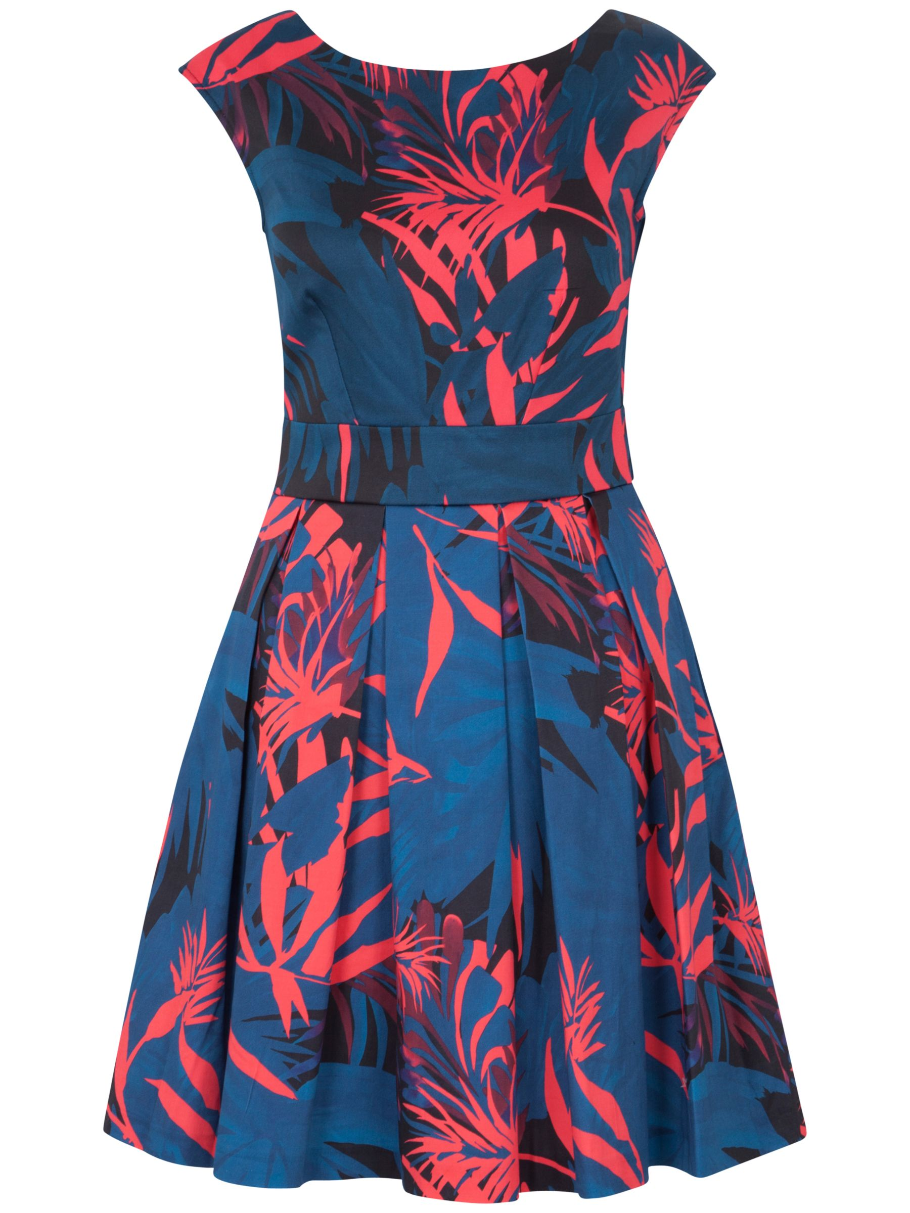 closet palm print tie back dress multi, closet, palm, print, tie, back, dress, multi, 8|10|12|14|16, women, womens dresses, gifts, wedding, wedding clothing, female guests, 1697840