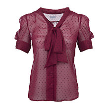 Buy Wolf & Whistle Polka Dot Bow Front Blouse, Burgundy Online at johnlewis.com