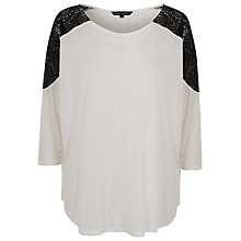 Buy French Connection Atty Lace Shoulder 3/4 RDNK Top, Cream/Black Online at johnlewis.com