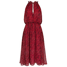 Buy French Connection Wild Cat Halterneck Flare Dress, Royal Scarlet Online at johnlewis.com