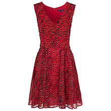 Buy French Connection Wild Cat V-Neck Flare Dress, Royal Scarlet Online at johnlewis.com
