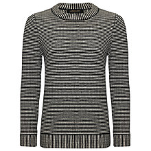 Buy Jaeger Textured Knitter Jumper, Black/Ivory Online at johnlewis.com