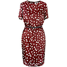 Buy Paisie Triangle Print Belt Dress, Burgundy & Cream Online at johnlewis.com