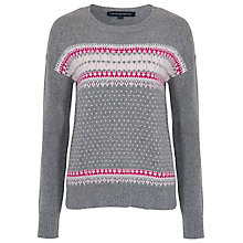 Buy French Connection Fast Florence Fairisle Jumper, Grey Mel Pink Combo Online at johnlewis.com