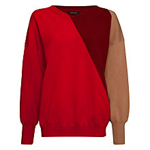 Buy Jaeger Colourblock Sweater, Red / Winter Berry Online at johnlewis.com