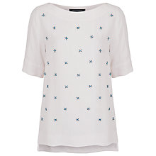 Buy French Connection Milara Star Embellished Top, White Hare Online at johnlewis.com