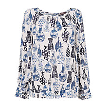 Buy Phase Eight Vase Print Blouse Top, Ivory/Blue Online at johnlewis.com