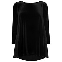 Buy Phase Eight Delia Silk And Velvet Blouse, Black Online at johnlewis.com