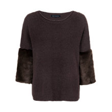 Buy French Connection Opal Jumper with Faux Fur Sleeves, Bitter Nut Online at johnlewis.com