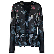 Buy French Connection Nightfall Collarless Shirt, Black Multi Online at johnlewis.com