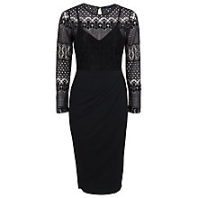 Buy French Connection Lace Drape Long Sleeved Dress, Black Online at johnlewis.com