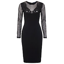 Buy French Connection Marie Polka Dot Mesh Embellished Long Sleeves Dress, Black Online at johnlewis.com
