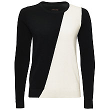 Buy Jaeger Cash Asymmetric Sweater, Black / Ivory Online at johnlewis.com