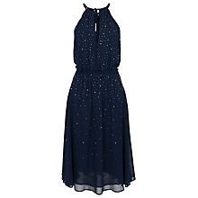 Buy French Connection Glitter Spells Halter Neck Flared Dress,  Prussian Blue Online at johnlewis.com