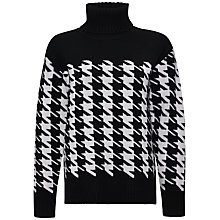 Buy Jaeger Oversized Houndstooth Sweater, Black / Ivory Online at johnlewis.com
