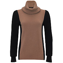 Buy Jaeger Cashmere Colour Block Cowl Neck Jumper, Camel / Black Online at johnlewis.com