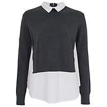 Buy French Connection Fast French Layered Jumper Shirt, Dark Grey / White Online at johnlewis.com