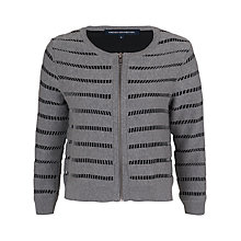 Buy French Connection Una Cut-Out Stripe Cotton Cardigan, Grey Mel / Black Online at johnlewis.com