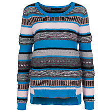 Buy French Connection Galactic Stripe Round Neck Cotton Jumper, Multi Online at johnlewis.com