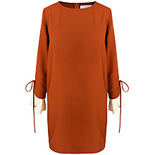 Buy Paisie Ruffle Cuff Shift Dress, Rust Brown & Cream Online at johnlewis.com