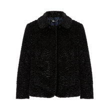 Buy Jigsaw Astrakan Cropped Jacket, Black Online at johnlewis.com