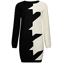 Buy Jaeger Giant Houndstooth Tunic Jumper, Black/Ivory Online at johnlewis.com