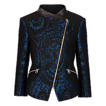 Buy Ted Baker Asymmetric Biker Jacket, Blue/Black Online at johnlewis.com