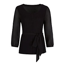 Buy Jacques Vert Chiffon Sleeved Belted Cardigan, Black Online at johnlewis.com