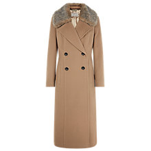 Buy Planet Double-Breasted Faux Fur Coat, Camel Online at johnlewis.com
