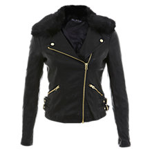 Buy Miss Selfridge Fur Collar Faux Leather Jacket, Black Online at johnlewis.com