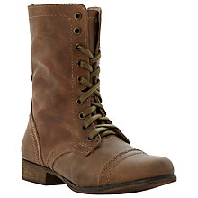 Buy Steve Madden Troopa Lace Up Leather Calf Boots, Brown Online at johnlewis.com