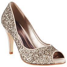 Buy John Lewis Fizz Glitter Peep Toe Court Shoes, Gold Online at johnlewis.com