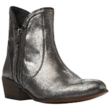 Buy Steve Madden Zipstr Leather Double Zip Low Heel Ankle Boots, Pewter Online at johnlewis.com