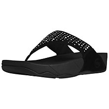 Buy FitFlop Novy Jewel Embellished Suede Thong Sandals, Black Online at johnlewis.com