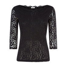 Buy Planet Scallop Lace Top, Black Online at johnlewis.com
