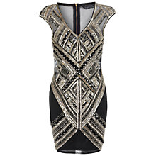 Buy Miss Selfridge Petite Sequin Bodycon Dress, Black/Gold Online at johnlewis.com