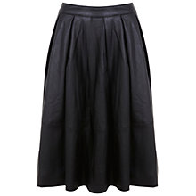 Buy Miss Selfridge Leather Look Midi Skirt, Black Online at johnlewis.com