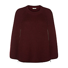Buy Planet Chunky Knit Cape, Claret Online at johnlewis.com