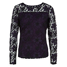 Buy Kaliko Lace Long Sleeve Top, Multi Purple Online at johnlewis.com