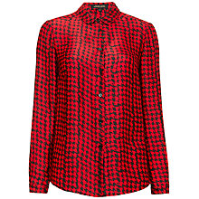 Buy Jaeger Blurred Dogtooth Blouse, Black / Red Online at johnlewis.com