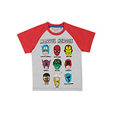 Buy Marvel Children's Marvel Heros T-Shirt, Red/Grey Online at johnlewis.com