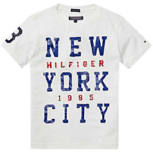 Buy Tommy Hilfiger Boy's Manhattan Organic Cotton T-Shirt, White Online at johnlewis.com