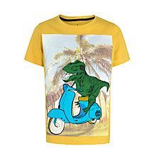 Buy John Lewis Boy Graphic Print Dino Scooter T-Shirt, Yellow Online at johnlewis.com